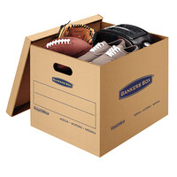 Banker's Box 7717201 SmoothMove Classic 18 inch x 15 inch x 14 inch Kraft / Blue Medium Moving Box   - 8/Case