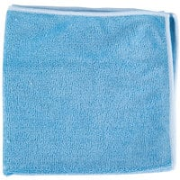 Unger MF40B SmartColor MicroWipe 16 inch x 15 inch Blue Heavy-Duty Microfiber Cleaning Cloth   - 10/Pack