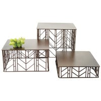 Clipper Mill by GET IRFLW-3000 Prairie 12 inch x 10 inch Brown Powder Coated Iron 3-Piece Rectangular Riser Set