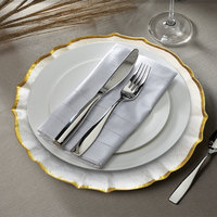 The Jay Companies 1470438 13 inch Pearl Ice Queen Glass Charger Plate with Gold Trim