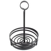 Choice Black Flat Coil Round Wrought Iron Condiment Caddy with Card Holder - 6 inch x 9 1/2 inch
