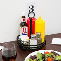Choice Black Flat Coil Round Wrought Iron Condiment Caddy with Card Holder - 8 inch x 9 1/2 inch