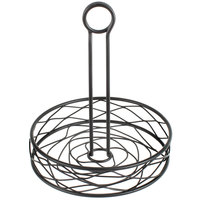Choice Black Round Birdnest Wrought Iron Condiment Caddy with Card Holder - 8 inch x 9 1/2 inch