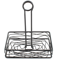 Choice Black Rectangular Birdnest Wrought Iron Condiment Caddy with Card Holder - 8 inch x 6 inch x 9 1/2 inch