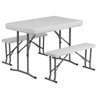 Flash Furniture DAD-YCZ-103-GG 25 1/2 inch x 41 inch White Plastic Folding Table with 2 Benches