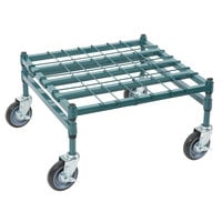 Regency 24 inch x 24 inch Heavy-Duty Mobile Green Dunnage Rack with Mat