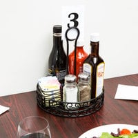 Choice Black Round Mediterranean Wrought Iron Condiment Caddy with Card Holder - 8 inch x 9 1/2 inch