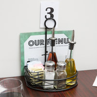 Choice Black Half Round Birdnest Wrought Iron Condiment Caddy with Card Holder - 8 1/2 inch