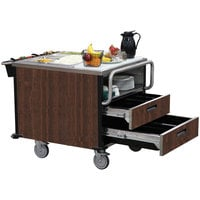 Lakeside 6755W SuzyQ Walnut Dining Room Meal Serving System with Two Heated Wells - 208V