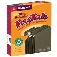 Smead 64037 FasTab Letter Size 100% Recycled Hanging File Folder - Reinforced Reinforced 1/3 Cut Assorted Tab, Green - 20/Box