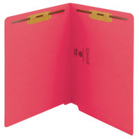 Smead 25740 Shelf-Master Letter Size Fastener Folder with 2 Fasteners - Straight Cut End Tab, Red - 50/Box