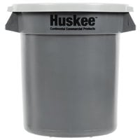 Continental Huskee 10 Gallon Gray Round Trash Can with Gray Lid