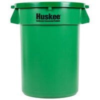 Continental Huskee 32 Gallon Green Round Trash Can with Green Lid
