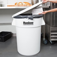 Continental Huskee 44 Gallon White Round Ingredient Bin / Trash Can with White Lid
