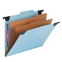 Smead 65115 FasTab SafeSHEILD Letter Size Hanging Classification Folder - 6-Section with 2/5 Cut Right of Center Tab, Blue