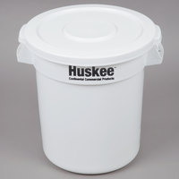 Continental Huskee 10 Gallon White Round Ingredient Bin / Trash Can with White Lid