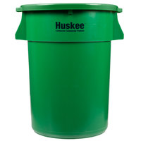 Continental Huskee 44 Gallon Green Round Trash Can with Green Lid