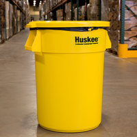 Continental Huskee 44 Gallon Yellow Round Trash Can with Yellow Lid