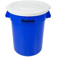 Continental Huskee 32 Gallon Blue Round Recycling / Trash Can with White Lid