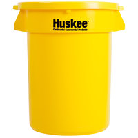 Continental Huskee 32 Gallon Yellow Round Trash Can with Yellow Lid