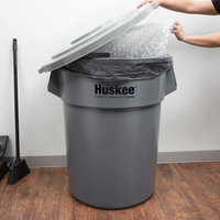 Continental Huskee 55 Gallon Gray Round Trash Can with Gray Lid