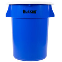 Continental Huskee 44 Gallon Blue Round Recycling / Trash Can with White Lid