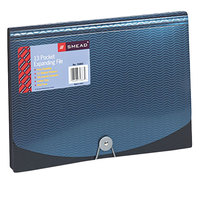 Smead 70863 Letter Size 12-Pocket Expanding File - Clear Blank Tabs, Flap and Cord Closure, Blue/Black