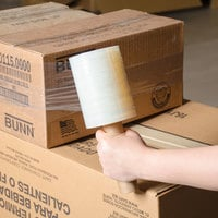 5 inch x 1000' Disposable 80 Gauge Banding Film / Pallet Wrap / Stretch Film - 15/Case