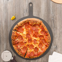 Epicurean 429-211602 16 inch Slate Richlite Wood Fiber Round Pizza Board with 5 inch Handle