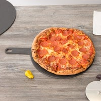 Epicurean 429-171202 12 inch Slate Richlite Wood Fiber Round Pizza Board with 5 inch Handle