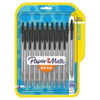 Paper Mate 1951395 InkJoy 100 RT Black Ink with Black Barrel 1mm Retractable Ballpoint Pen - 20/Pack