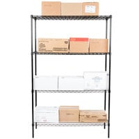 Regency 18 inch x 48 inch NSF Black Epoxy 4-Shelf Kit with 74 inch Posts