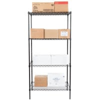 Regency 24 inch x 36 inch NSF Black Epoxy 4-Shelf Kit with 74 inch Posts