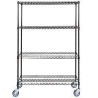 Regency 18 inch x 48 inch NSF Black Epoxy 4-Shelf Kit with 64 inch Posts and Casters