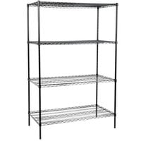 Regency 24 inch x 48 inch NSF Black Epoxy 4-Shelf Kit with 74 inch Posts