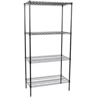 Regency 18 inch x 36 inch NSF Black Epoxy 4-Shelf Kit with 74 inch Posts