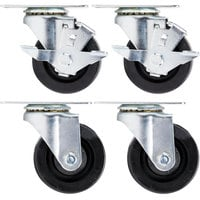 Beverage-Air 61C01-018D-01 3 inch Replacement Plate Casters for Beverage-Air HB, MM, LV, and Slate Series - 4/Set