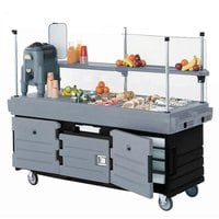 Cambro KVC856426 CamKiosk Black Base with Granite Gray Door Vending Cart with 6 Pan Wells