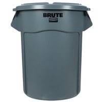 Rubbermaid BRUTE 55 Gallon Gray Round Trash Can and Lid