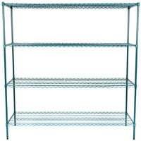 Regency 24 inch x 72 inch NSF Green Epoxy 4-Shelf Kit with 74 inch Posts