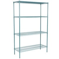 Regency 18 inch x 48 inch NSF Green Epoxy 4-Shelf Kit with 74 inch Posts