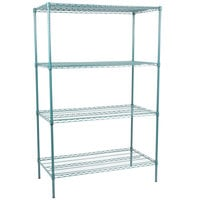 Regency 24 inch x 48 inch NSF Green Epoxy 4-Shelf Kit with 74 inch Posts