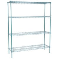 Regency 18 inch x 60 inch NSF Green Epoxy 4-Shelf Kit with 74 inch Posts