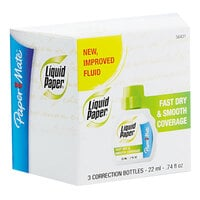 Paper Mate 5643115 Liquid Paper Fast Dry Correction Fluid 22mL Bottle - 3/Pack