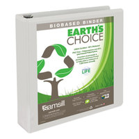 Samsill 18957 Earth's Choice White Biobased View Binder with 1 1/2 inch Round Rings