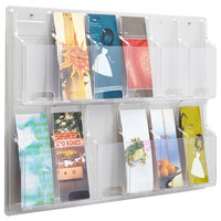Safco 5604CL Reveal Clear 12-Compartment Wall-Mount Display Rack - 30 inch x 2 inch x 20 1/4 inch