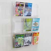 Safco 5603CL Reveal Clear 9-Compartment Wall-Mount Display Rack - 30 inch x 2 inch x 36 3/4 inch