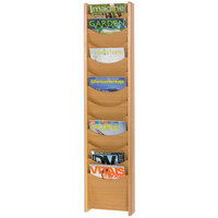 Safco 4331MO Medium Oak 12 Compartment Wood Wall Mount Magazine Display Rack