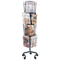 Safco 4139CH Charcoal 16 Compartment Rotary Wire Display Rack