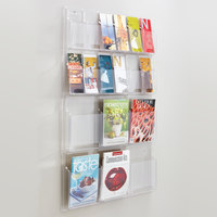 Safco 5600CL Reveal Clear 18-Compartment Wall-Mount Display Rack - 30 inch x 2 inch x 45 inch